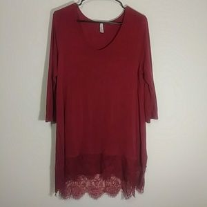 Vanity Tops - Long tunic shirt with quarter lenght sleeves